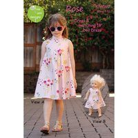 Rose Dress Pattern with Matching Doll Dress