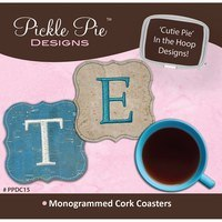 Monogrammed Cork Coasters Embroidery CD