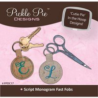 Monogrammed Fast Fobs Embroidery CD - Script Letters