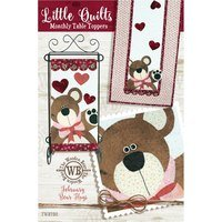 Monthly Table Topper and Wall Hanging Pattern, February Bear Hugs