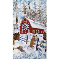 Timeless Treasures, Scenic Winter Barn Fabric Panel