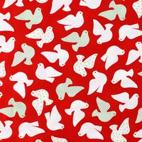 Robert Kaufman, Christmas Doves Fabric, Jingle, Red