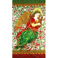 Robert Kaufman, Holiday Flourish, Metallic Angel Fabric Panel 24""