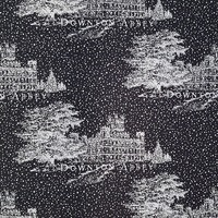 Downton Abbey Christmas Fabric, Black