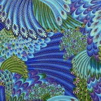 Timeless Treasures, Enchanted Plume Metallic Fabric, Peacock