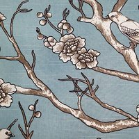 "54"" Cherry Blossoms and Birds, Blue Upholstery Fabric"