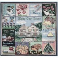 Seasons Calendar Tapestry Fabric Panel