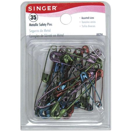 Metallic Safety Pins (Assorted - 35 CT), Singer #294