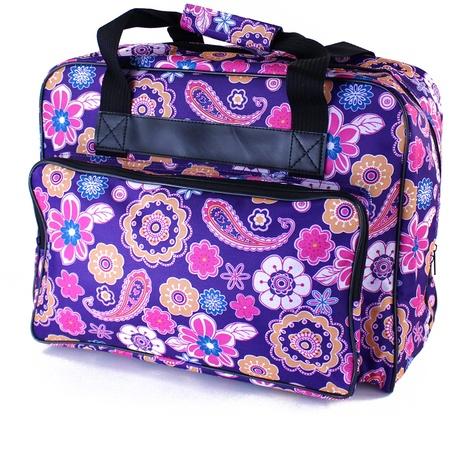 "Sewing Machine Paisley Tote, 16.6""L x 8.5""W x 12""H, Purple"