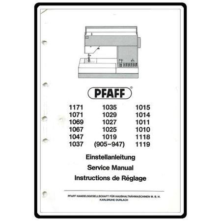 Service Manual, Pfaff 1011
