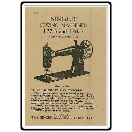Instruction Manual, Singer 128-3