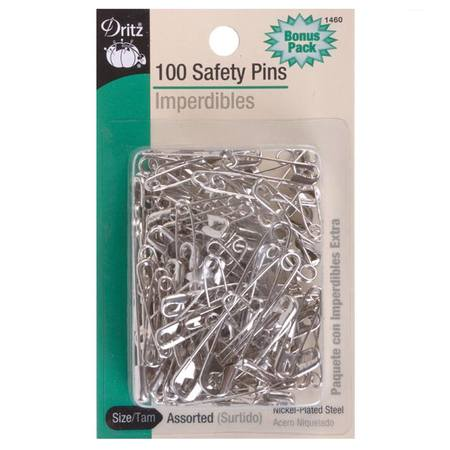 100pk Assorted Safety Pins (Sizes 0-3), Dritz