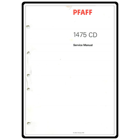 Service Manual, Pfaff 1475CD