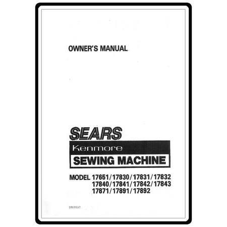 Instruction Manual, Kenmore 158.17831 Models