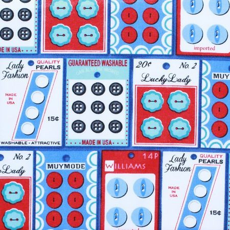 Gran's Sewing Basket Fabric, Buttons, Blue