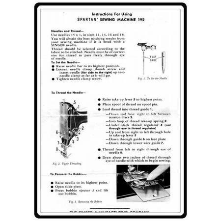 Instruction Manual, Singer 192