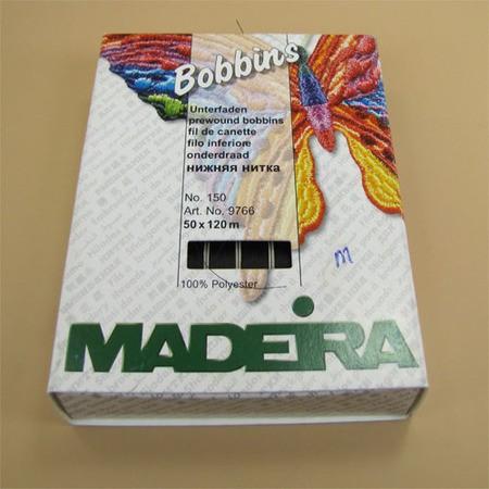 "Bobbins Pre Wound, Madeira Black ""Style M"" 50 pk #20990053"