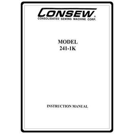 Instruction Manual, Consew 241-1K