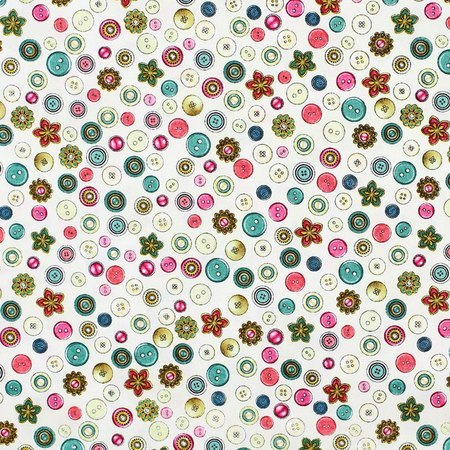 Quilting Treasures, Cute as a Button Fabric, Eggshell