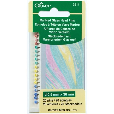 20pk Marbled Glass Head Pins, Clover