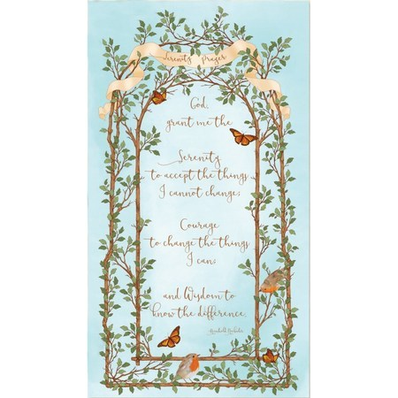 Quilting Treasures, Serenity Prayer Fabric Panel, Aqua