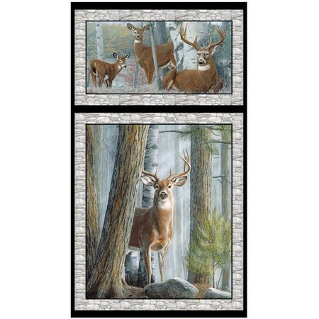 Quilting Treasures, In the Woods Fabric Panel, Gray