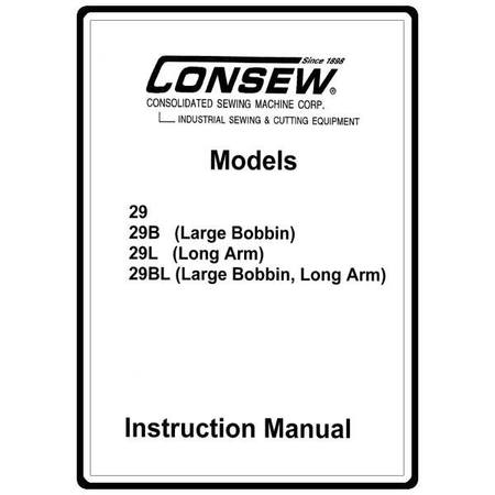 Instruction Manual, Consew 29L