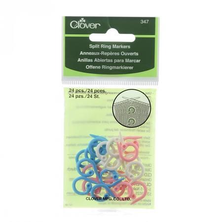 24pk Knitting Split Ring Markers, Clover
