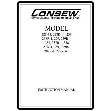 Instruction Manual, Consew 359