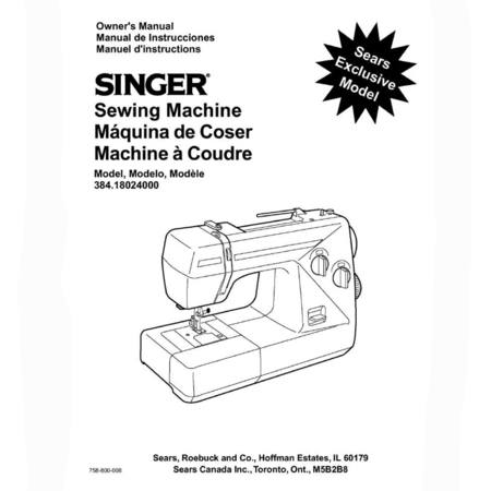 Instruction Manual, Singer 384.18024