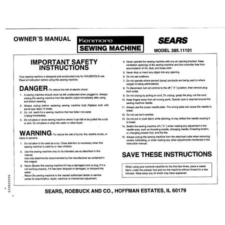 Instruction Manual, Kenmore 385.11101590