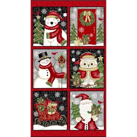 Studio E, Winter Greetings, Christmas Blocks Fabric Panel