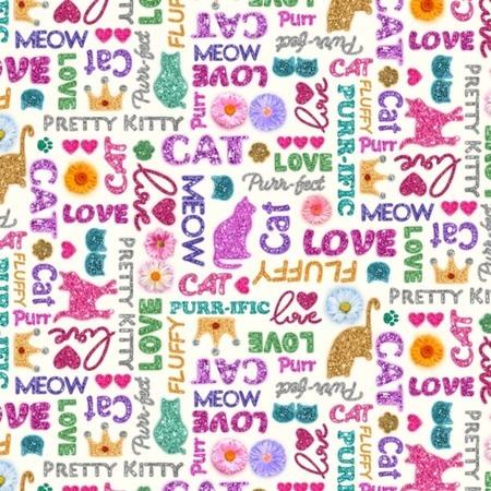 Kitty Glitter, Glitter Words Fabric