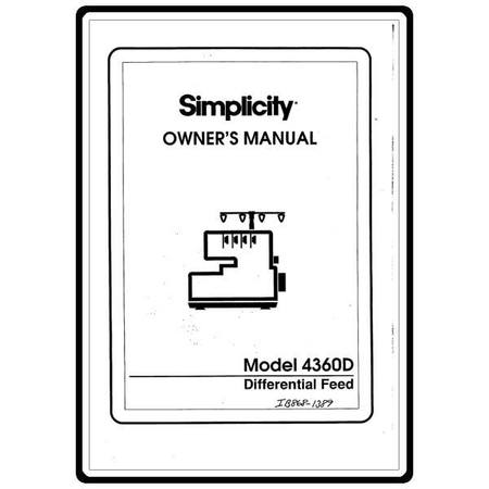 Instruction Manual, Simplicity SL4360D