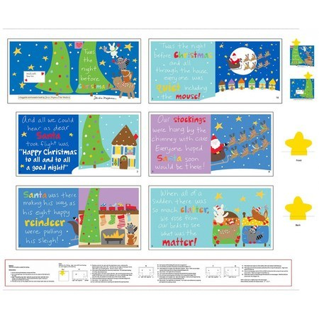 Huggable and Loveable, Night Before Christmas Fabric Book Panel - 36in