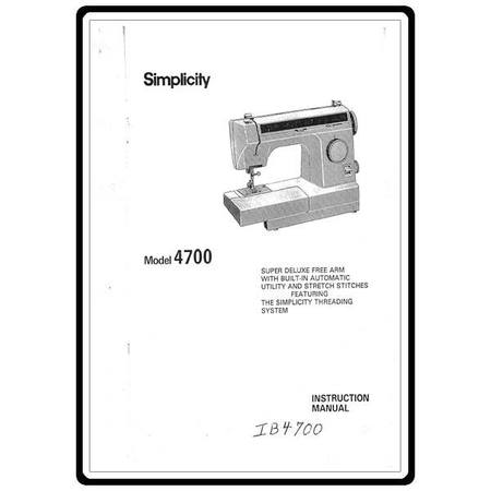 Instruction Manual, Simplicity SL4700