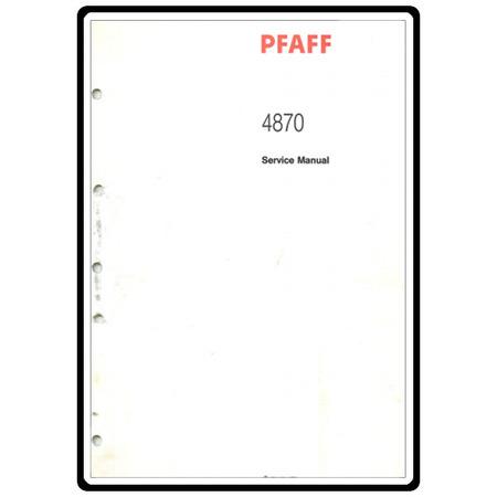 Service Manual, Pfaff 4870