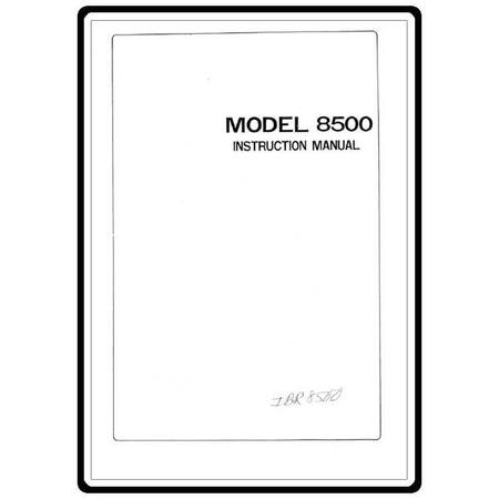 Instruction Manual, Riccar 8500