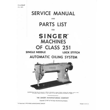 Service Manual, Singer 251