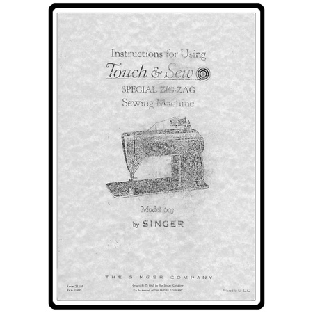 Instruction Manual, Singer 603E