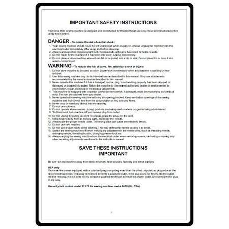 Instruction Manual, Elna 6600