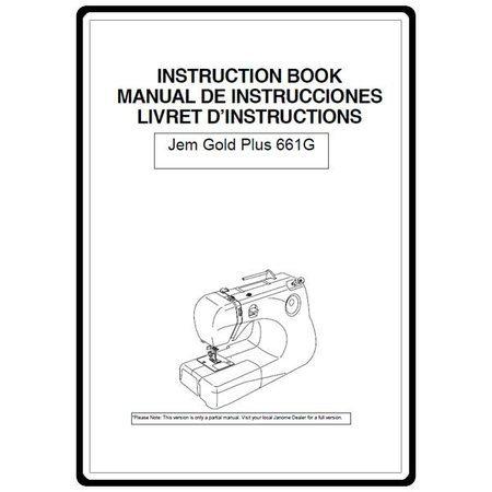 Instruction Manual, Janome Jem Gold 661