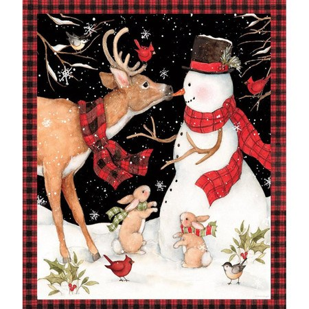 Springs Creative Winter Snowman with Reindeer Fabric Panel