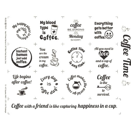 Coffee Time Fabric Panel - White