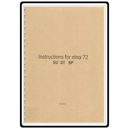 Instruction Manual, Elna 72