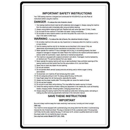 Instruction Manual, Elna 7300