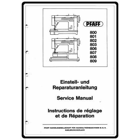 Service Manual, Pfaff 809