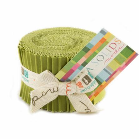 Fig Tree Olive, Moda Bella Solids Fabric, Junior Jelly Roll