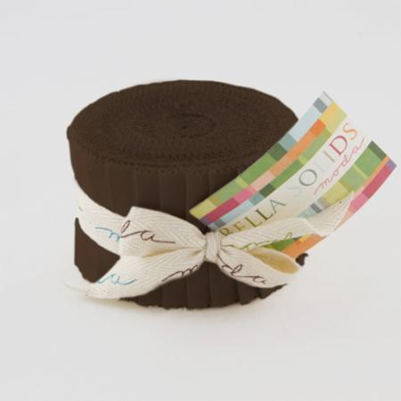 U Brown, Moda Bella Solids Fabric, Junior Jelly Roll