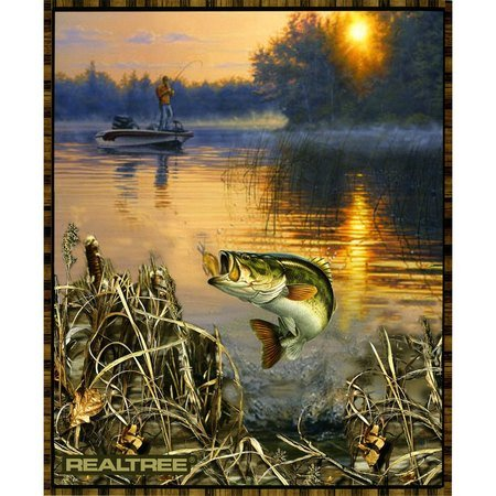 Bass Fishing Fabric Panel